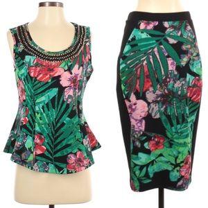 Thalia Sodi Skirt Set sleeveless top tropical